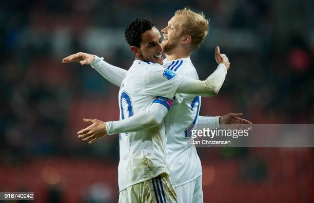 Carlos Zeca of FC Copenhagen and Nicolai Boilesen of FC Copenhagen celebrate the 51 goal from Carlos Zeca during the Danish Alka Superliga match...