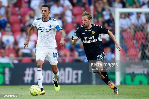 Carlos Zeca of FC Copenhagen and Peter Nymann of AC Horsens in action during the Danish Superliga match between FC Copenhagen and AC Horsens at Telia...