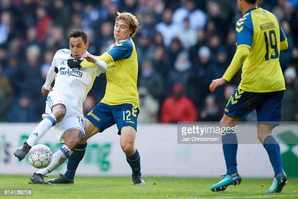 Carlos Zeca of FC Copenhagen and Simon Tibbling of Brondby IF compete for the ball during the Danish Cup DBU Pokalen match between FC Copenhagen and...