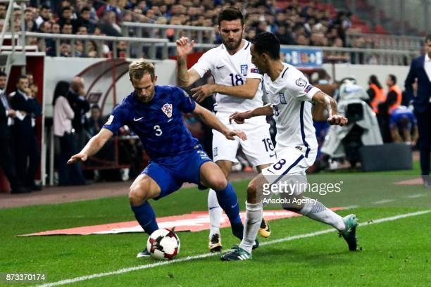 Carlos Zeca of Greece in action against Ivan Strinic of Croatia during the World Cup Russia 2018 European Qualifiers match between Greece and Croatia...