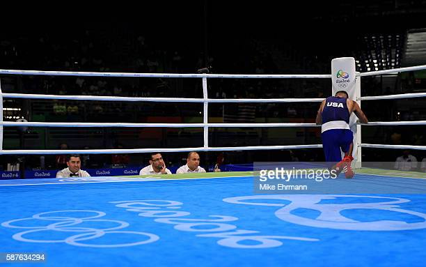 Carlos Zenon Balderas Jr of the United States looks on before a fight against Daisuke Narimatsu of Japan in their Mens Lightweight 60kg bout on Day 4...