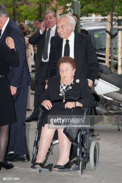 Carlos Zurita and Princess Margarita attend funeral chapel for Alfonso Moreno De Borbon cousin of King Felipe VI who died at 52 years old on May 23...