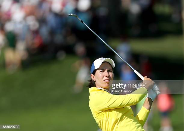 Carlota Ciganda of Spain and the European Team plays her second shot on the 16th hole in her match with Melissa Reid against Brittany Lang and...