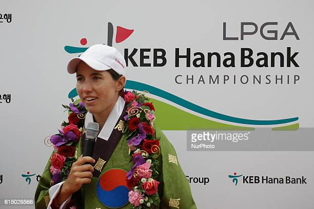 Carlota Ciganda of Spain attend winning ceremony after round during an LPGA KEB HANA Bank Championship 2016 Round 4 at Sky 72 Golf Club Ocean Course...