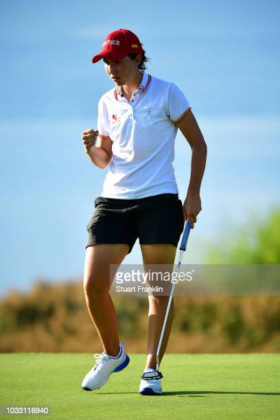 Carlota Ciganda of Spain celebrates after making a putt during day two of the Evian Championship at Evian Resort Golf Club on September 14 2018 in...
