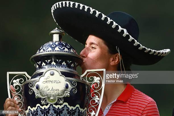 Carlota Ciganda of Spain celebrates with the trophy after winning the Lorena Ochoa Invitational 2016 at Club de Golf on November 13 2016 in Mexico...