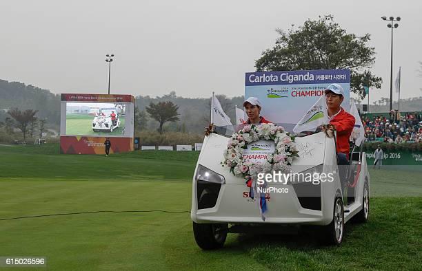 Carlota Ciganda of Spain enter on 18th hall using golf cart car during an LPGA KEB HANA Bank Championship 2016 Round 4 at Sky 72 Golf Club Ocean...