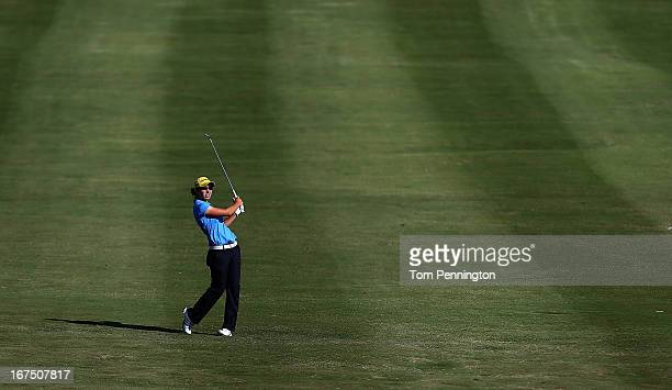 Carlota Ciganda of Spain hits a shot during the first round of the 2013 North Texas LGPA Shootout at the Las Colinas Country Club on April 25 2013 in...