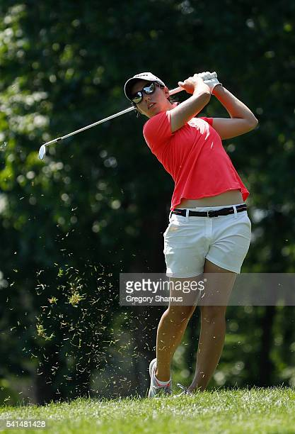 Carlota Ciganda of Spain hits her second shot on the 15th hole during the final round of the Meijer LPGA Classic on June 19 2016 at Blythefield...