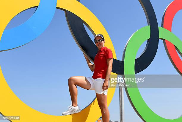 Carlota Ciganda of Spain pictured with the Olympic rings during a practice round prior to the Women's Individual Stroke Play golf at the Olympic Golf...