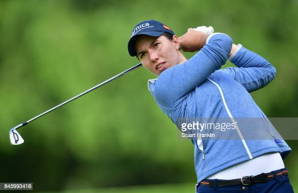 Carlota Ciganda of Spain plays a shot during practice prior to the start of The Evian Championship at Evian Resort Golf Club on September 12 2017 in...
