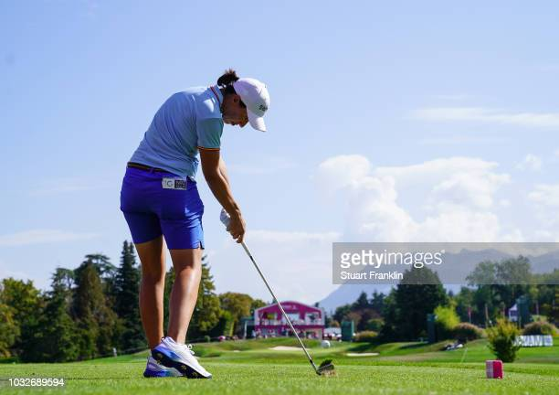 Carlota Ciganda of Spain plays a shot during the first round of The Evian Championship at Evian Resort Golf Club on September 13 2018 in...