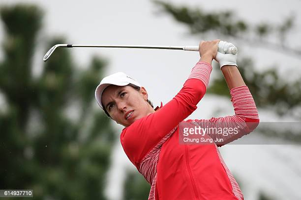 Carlota Ciganda of Spain plays a tee shot on the 3rd hole during the final round of the LPGA KEBHana Bank Championship at the Sky 72 Golf Club Ocean...