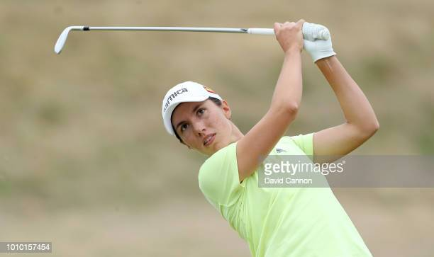 Carlota Ciganda of Spain plays her second shot on the fourth hole during the second round of the Ricoh Women's British Open at Royal Lytham and St...