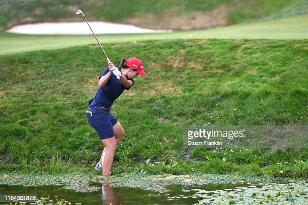 Carlota Ciganda of Spain plays out of water on the sixteenth during day 2 of the Evian Championship at Evian Resort Golf Club on July 26 2019 in...
