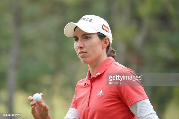 Carlota Ciganda of Spain reacts after a putt on the 13th green during the final round of the TOTO Japan Classic at Seta Golf Course on November 04...