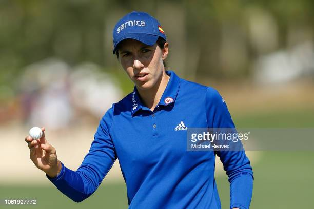 Carlota Ciganda of Spain reacts after a putt on the ninth green during the first round of the CME Group Tour Championship at Tiburon Golf Club on...