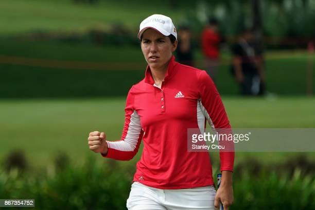 Carlota Ciganda of Spain reacts on the 9th hole during day three of the Sime Darby LPGA Malaysia at TPC Kuala Lumpur East Course on October 28 2017...