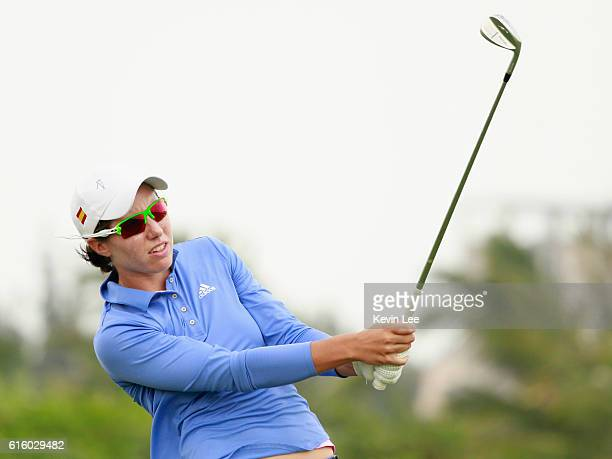 Carlota Ciganda of Spain tee off at 17th hole during Round 2 of Blue Bay LPGA of Day 2 on October 21 2016 in Hainan Island China