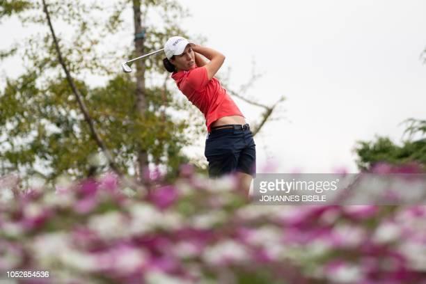 TOPSHOT Carlota Ciganda of Spain tees off during the final round of the Shanghai LPGA golf tournament in Shanghai on October 21 2018