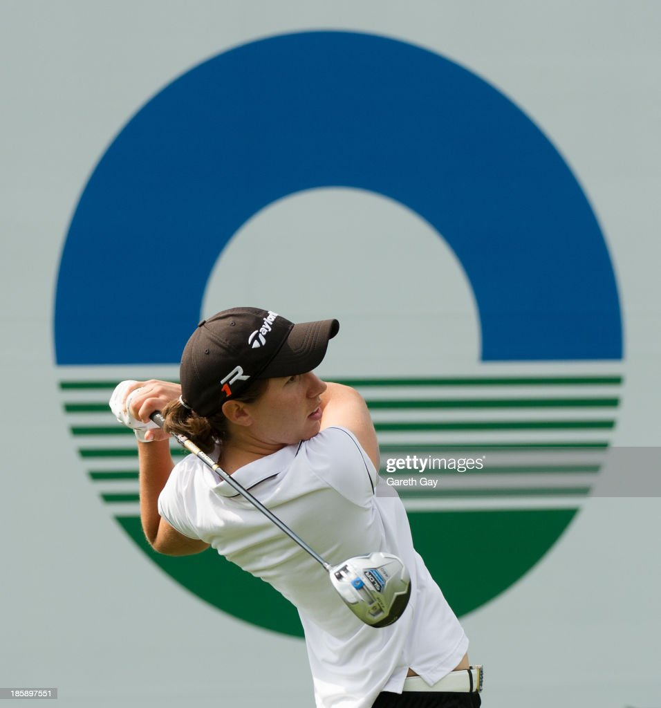 Carlota Ciganda of Spain tees off on the first hole, during day three of the Sunrise LPGA Taiwan Championship on October 26, 2013 in Taoyuan, Taiwan.