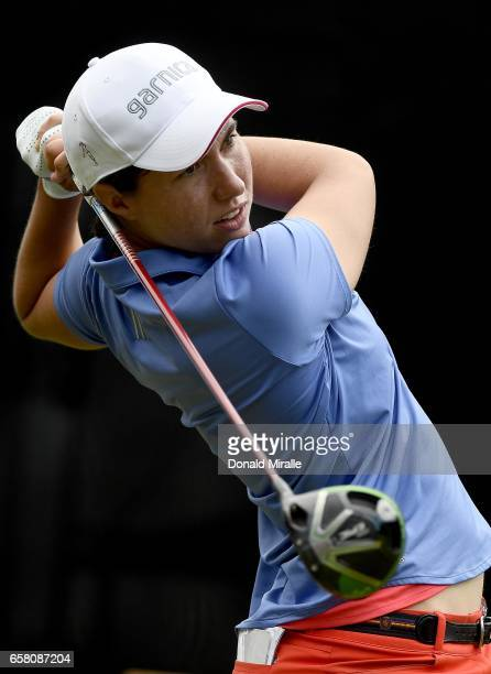Carlota Ciganda of Spain tees off the 1st hole during the Final Round of the KIA Classic at the Park Hyatt Aviara Resort on March 26 2017 in Carlsbad...