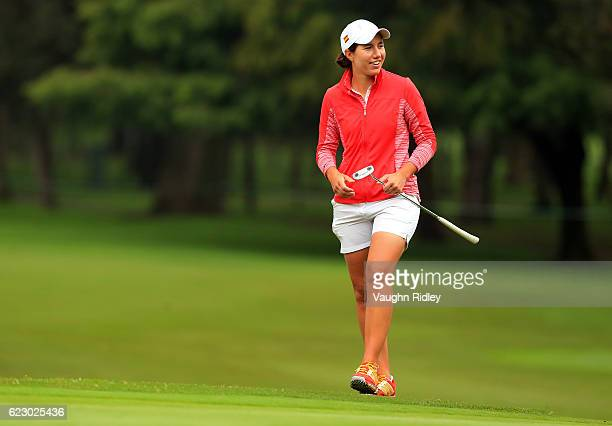 Carlota Ciganda of Spain walks up to the 2nd green during the final round of the Citibanamex Lorena Ochoa Invitational Presented By Aeromexico and...