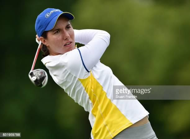Carlota Ciganda of Team Europe plays a shot during practice for The Solheim Cup at the Des Moines Country Club on August 15 2017 in West Des Moines...