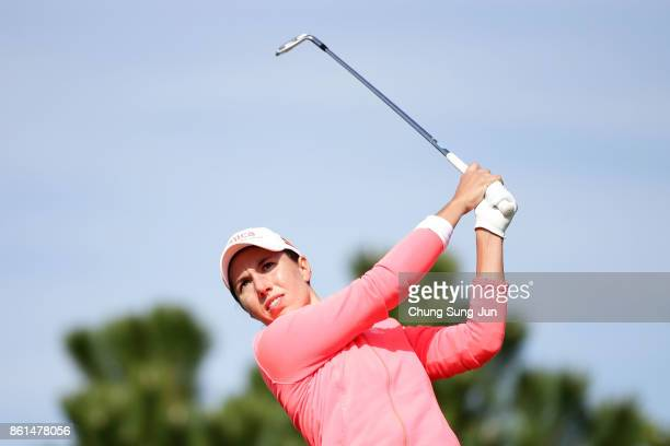 Carlota Ciganda plays a tee shot on the 3rd hole during the final round of the LPGA KEB Hana Bank Championship at the Sky 72 Golf Club Ocean Course...