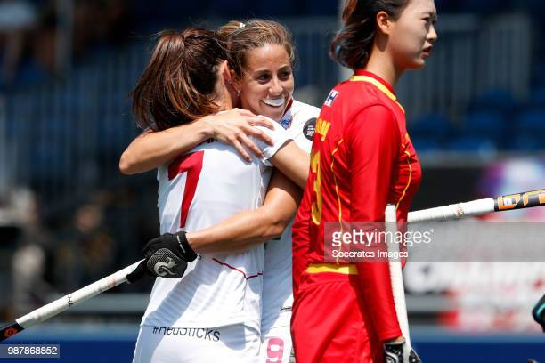 Carlota Petchame of Spain Women celebrates 51 with Maria Lopez of Spain Women during the Rabobank 4Nations trophy match between Spain v China at the...