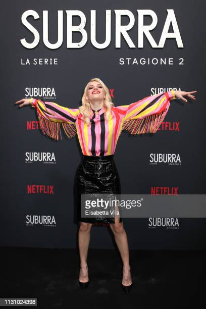 Carlotta Antonelli attends the after party for Netflix Suburra The Series season 2 launch at Circolo Degli Illuminati on February 20 2019 in Rome...