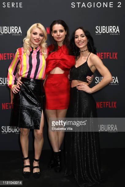 Carlotta Antonelli Federica Sabatini and Cristina Pelliccia attend the after party for Netflix Suburra The Series season 2 launch at Circolo Degli...