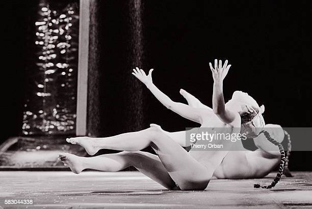 Carlotta Ikeda performs with the Ariadone Troupe the only allwomen Butoh troupe in a performance of Zarathoustra and Utt at the Theatre of Paris...