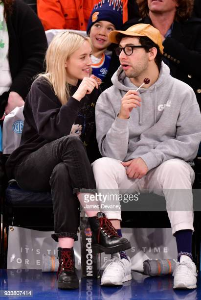 Carlotta Kohl and Jack Antonoff attend New York Knicks Vs Charlotte Hornets game at Madison Square Garden on March 17 2018 in New York City