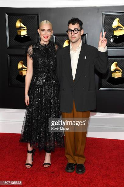 Carlotta Kohl and Jack Antonoff attend the 63rd Annual GRAMMY Awards at Los Angeles Convention Center on March 14, 2021 in Los Angeles, California.