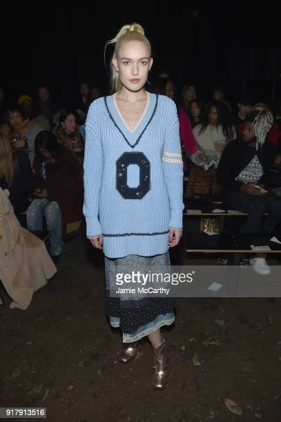 Carlotta Kohl attends the Coach 1941 front row during New York Fashion Week at Basketball City on February 13 2018 in New York City