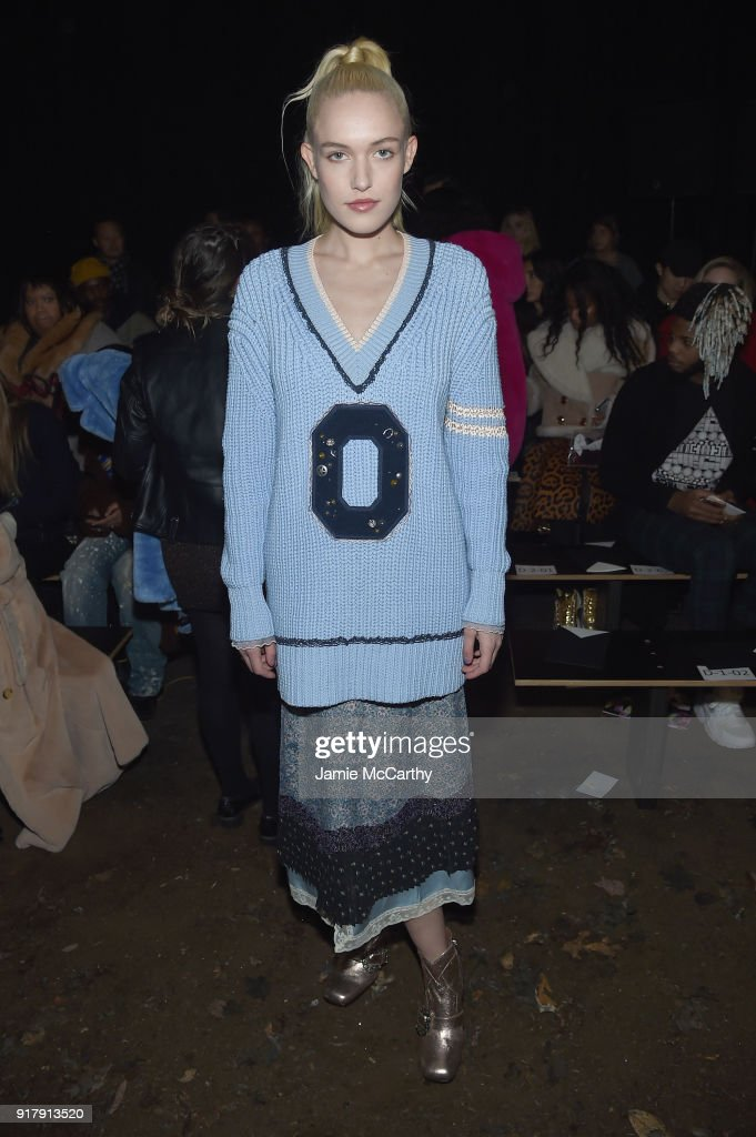 Carlotta Kohl attends the Coach 1941 front row during New York Fashion Week at Basketball City on February 13, 2018 in New York City.
