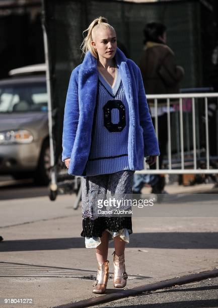 Carlotta Kohl is seen outside the Coach show during New York Fashion Week Women's A/W 2018 on February 13 2018 in New York City