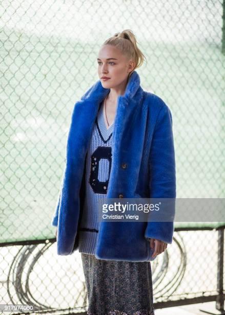 Carlotta Kohl wearing blue jacket seen outside Coach on February 13 2018 in New York City