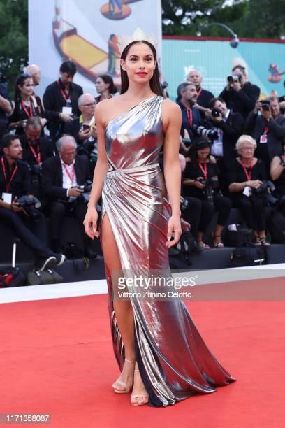 Carlotta Maggiorana walks the red carpet ahead of the Joker screening during the 76th Venice Film Festival at Sala Grande on August 31 2019 in Venice...