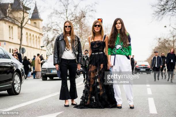 Carlotta Oddi Anna dello Russo wearing a black dress form Dior and Chiara Totire are seen in the streets of Paris after the Christian Dior show...