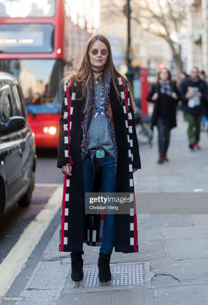 Carlotta Oddi outside Ports 1961 on day 2 of the London Fashion Week February 2017 collections on February 18, 2017 in London, England.