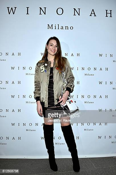 Carlotta Rubaltelli attends Winonah VIP Cocktail photocall during Milan Fashion Week Fall/Winter 2016/17 on February 26 2016 in Milan Italy