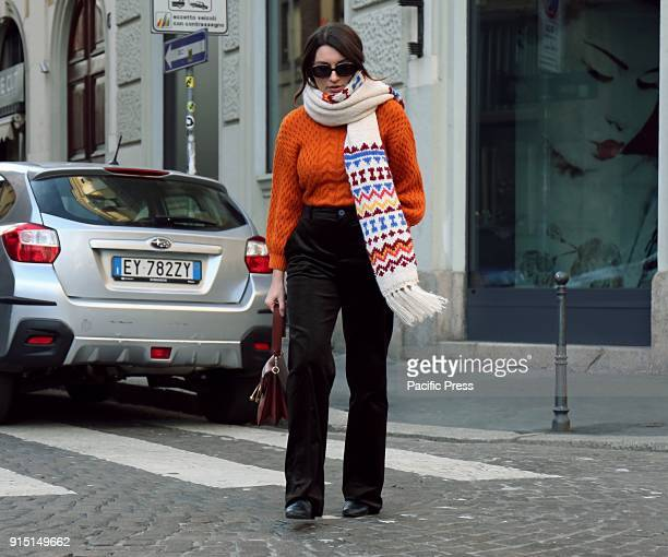 Carlotta Rubaltelli on the street during the Milan Fashion Week