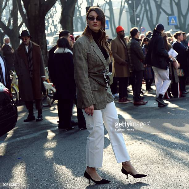 Carlotta Rubaltelli on the street during the Milan man Fashion Week