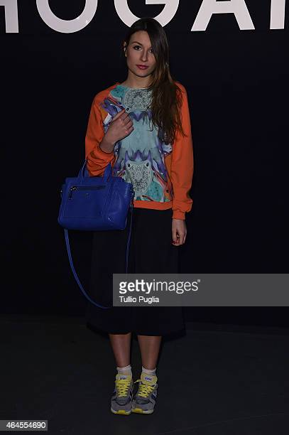 Carlotta Rubaltelli poses at the Hogan presentation as part of Milan Fashion Week Autumn/Winter 2015 on February 26 2015 in Milan Italy