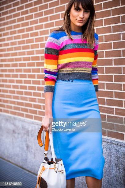 Carlotta Rubaltelli wearing a multicolored sweater and blu skirt is seen outside Fendi on Day 2 Milan Fashion Week Autumn/Winter 2019/20 on February...