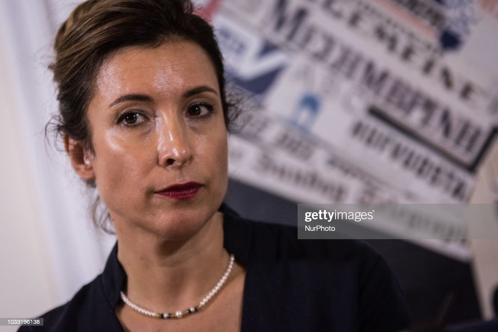 Carlotta Sami Spokeswoman at UNHCR SouthEurope during press conference UN High Commissioner for Refugees Filippo Grandi meets the journalists at the foreign press in Rome, September,14 2018 in Rome, Italy.