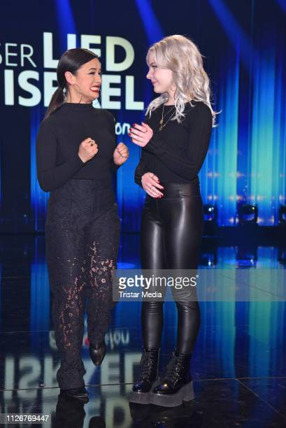 Carlotta Truman and Laurita Spinelli of the duo Ssters after winning the ARD TV show 'Unser Lied fuer Israel' at Studio Berlin Adlershof on February...