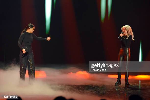 Carlotta Truman and Laurita Spinelli of the duo Ssters perform after winning the ARD TV show 'Unser Lied fuer Israel' at Studio Berlin Adlershof on...